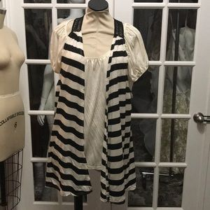Black and white blouse with lace vest plus size